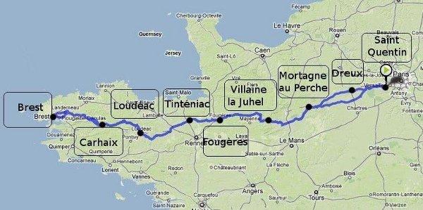 Parcours 2015 de Paris-Brest-Paris Randonneur