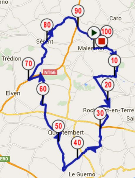 La Coeur de Bretagne 2015 - Parcours 100 km